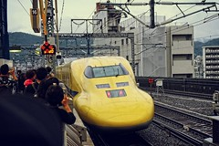 Doctor Yellow has just left the station (petrwag) Tags: kyoto yellow shinkansen sony a6500 sel1670z japan japón japon
