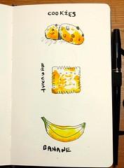 Envie d'un petit goûter... (cecile_halbert) Tags: dessin draw drawing drawink ink encre carnet croquis biscuit cookies banane food nourriture gateaux sketch sketching sketchinglife sketcher aquarelle watercolor sketchbook artbook artjournal artdiary journaladdict journaling journalling