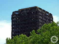 Grenfell Tower (ZJN Photography) Tags: london grenfell tower grenfelltower prayforgrenfell kesington fire devestation derelict summer trees burned burnt black green sunny sky reflect respects