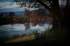Today's Ending (☺dannicamra☺) Tags: nikon germany bavaria bayern regenstauf landscape water river sky clouds boat tree evening autumn fall nature fluss landschaft abends wasser baum himmel berg hill natur herbst november glow d5100 350mm f18 spiegelung boot dark blue reflection
