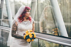 (Katy Seymour) Tags: wedding photographer orlando florida marry me science center central paper flowers green grass glass pink hair black white female canon usa alternative model do sparkle shine bokeh sunset little pleasures things red dress gown after party kitten