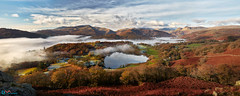 Loughrigg Tarn Langdale Panorama (Dave Massey Photography) Tags: loughriggfell loughriggtarn lakedistrict langdale mist langdalepikes cumbria panorama