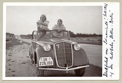 "Opel Olympia Cabrio-Limousine (Vintage Cars & People) Tags: vintage classic black white ""blackwhite"" sw photo foto photography automobile car cars motor opel olympia cabrio cabriolet 1937 1930s thirties lady ladies woman women autobahn swinemünde"