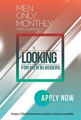 Men Only Monthly Blogger Applications are OPEN! (Selene Starflare (Marketing for Flair For Events)) Tags: men male fashion masculine menonlymonthly mom sl secondlife poses props jewelry skins clothing monthly event blogger application bloggerapplication