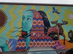 Art by Aaron Glasson - Moncton, New Brunswick (Fred looking for friends) Tags: moncton festivalinspire inspirefestival aaronglasson streetart marchémoncton monctonmarket aaron glasson marché market public nouveaubrunswick newbrunswick inspire festival walls murale mural murals murales wallart urban street art urbain nouveau new brunswick graffiti artist woman moose caribou nature