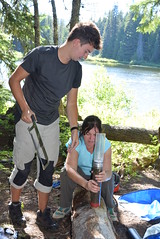 2016. Matthew Watkins and Cynthia Froyd from Swansea University preparing a sediment core for pollen and eDNA lab analysis. Forlorn Lakes. Gifford Pinchot National Forest, Washington. (USDA Forest Service) Tags: usda usfs forestservice foresthealthprotection stateandprivateforestry region6 r6 swanseauniversity palynology paleoecology 2016 tephra pollen sedimentcore lake environmentaldna cynthiafroyd matthewwatkins forlornlakes sedimentationcore forestinsect edna dendroctonus applyknowledgeglobally cindyfroyd mattwatkins foresthealth