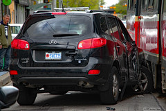 Ouch! (Can Pac Swire) Tags: car auto automobile ttc streetcar tram crash queenstreet east broadview avenue 20170522 2017 may 22 honda hyundai 2017aimg8998 special custom licence license plate number toronto ontario canada canadian accident road