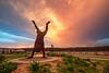 Hand stand (newretreads42) Tags: handstand kawana sunshinecoast queensland australia sunset clouds statue