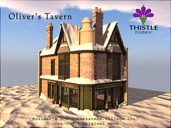 Thistle Oliver's Tavern - Builder's Box Christmas 2017 (Liz Gealach) Tags: thistlehomes lizgealach secondlife buildersbox christmas village tavern pub bar corner shop store prefab home house snow winter second life sl