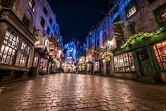 Christmas in Diagon Alley (Mark Willard Photography) Tags: christmas wizard wizarding world diagon alley harry potter universal studios florida nikon d850 travel holiday vacation night long exposure sigma uwa ultrawide angle