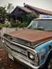 Trusty (RZ68) Tags: chevrolet truck lgg6 lg rusty old classic blue house chevy grill fender parked street broken windshield hood raindrops fall california bayarea