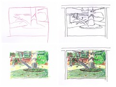 Making of The Shadow (jimblodget) Tags: sketch crayon pen penandink backyard tree tracing ink