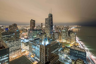 A night view from the sky deck at Axis apartments in Streeterville