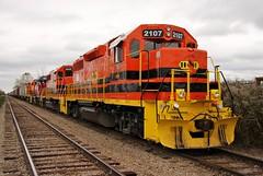 Bad Axe to Bay City (BravoDelta1999) Tags: huronandeastern hesr railroad saginawtuscolaandhuron sth peremarquette pm railway chesapeakeandohio co saginaw michigan emd gp382 2107 manifest train