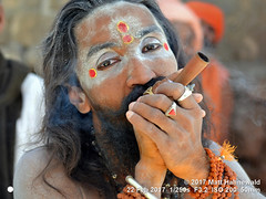 2017-02b Shivratri Mela (61b) (Matt Hahnewald) Tags: matthahnewaldphotography facingtheworld character face forehead makeup tika tilaka thirdeye sacredash vibhuti eyes facialexpression eyecontact fullbeard hair pipe smoke smoking chillum bothhands marijuana hashish ganja bhang charas bodylanguage gesture consent dignity spiritual religious traditional cultural holy mela sadhu guru bhavnath asian male adult middleaged man picture photo illustrativeeditorial faceperception physiognomy primelens street portrait closeup threequarterview color authentic rudraksha headshot hinduism horizontal 4x3 indian junagadh nikkorafs50mmf18g nikond3100 outdoor painted shivratri travel westernindia 50mm oneperson