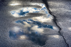 After the Rain (WilliamND4) Tags: puddle reflection sky clouds nikon d810 crack pavement