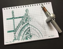 Gothic detail practice.  Duomo - Siena, Italy (schunky_monkey) Tags: penandink ink pen fountainpen illustrator illustration art drawing draw sketchbook sketching sketch europe detail window structure building architecture gothic church cathedral italy siena duomo