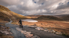The Miner's track.... Snowdonia (Einir Wyn Leigh) Tags: landscape view december bike bicycle racer track walking pleasure nature beauty lake light clouds weather gold wales cymru natural nikon sigma man sport actrivity rural snowdonia uk