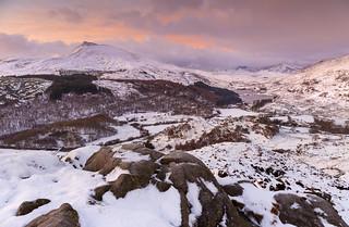 A winter pre-dawn from above Capel Curig