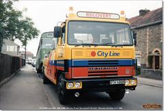 OTH 488R, and 529,  DAE 528K, outside Soundwell Technical College, October 2nd 1989 (Bristol RE) Tags: 529 dae528k bristolre resl resl6l bristolomnibus ecw oth488r cityline bedford cummins morleyroad soundwell bristol bedfordtm