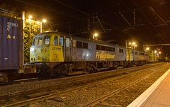 86638 & 86639 get the feathers to cross the mainline into Ipswich Yard, with the Crewe Basford Hall - Felixstowe Freightliner service, at Ipswich Station. 10 11 2017 (pnb511) Tags: electric overhead cable ohc catenary traction loco locomotive trains railway ipswich greateasternmainline geml class86 intermodal suffolk freightliner locos locomotives