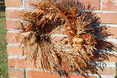 Autumn Wreath. (dccradio) Tags: lumberton nc northcarolina robesoncounty outdoors outside morning goodmorning fall autumn harvest nikon d40 dslr wreath decoration brick bricks brickwall signpost