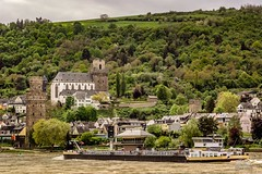 River Traffic - Oberwesel, Germany (Richard Adams Photography) Tags: oberwesel germany church river naduah unesco rhine tree ship landscape water forest building grass