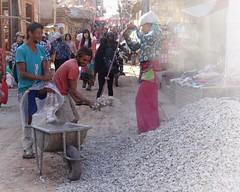 Preparing concrete (posterboy2007) Tags: nepal gravel shovel labour people nepali workers dust street sony bhaktapur