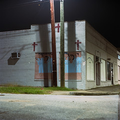 (patrickjoust) Tags: tlr twin lens reflex 120 6x6 medium format film color manual focus analog mechanical patrick joust patrickjoust usa us united states north america estados unidos town mamiya c330 s sekor 80mm f28 kodak portra 160 c41 night after dark cable release tripod long exposure crosses mural choir church religion building white augusta ga georgia