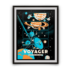 voyager-kids-18x24-framed-white (chopshopstore) Tags: space voyager nasa jupiter saturn screenprint kickstarter poster