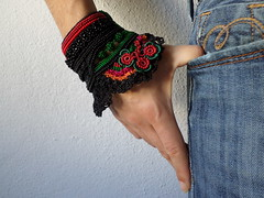 freeform crochet cuff bracelet with green and red beaded crochet flowers and black crochet lace by irregularexpressions (irregular expressions) Tags: crochet crochetart crochetbracelet crocheted crochetedflowers cuff freeformcrochetbracelet freeformcrochet beadedcrochet beadedlace beadedbracelet beadedcuff beadedcrochetbracelet black lace bracelet blackbracelet floralbracelet floralcuff etsy irregularexpressions textilejewelry textilebracelet fiberbracelet fiberart fiberjewelry textileart wearableart