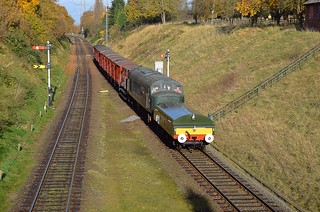 Diesel Loco D123 (45125) on a demonstration freight train, complete wih newly created replica Brake Tender, approaches Rothley, with a service from Quorn. The Last Hurrah, End of Season Gala, Great Central Railway. 18 11 2017