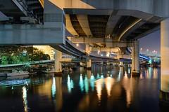 Highway Junction (mon_masa) Tags: junction river yokohama japan nightphoto nightscape night nightview reflection architecture structure
