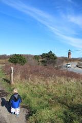 Heading off to the lighthouse (quinn.anya) Tags: paul toddler lighthouse gayhead aquinnah marthasvineyard path