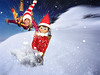 Speed! (Jenny Onsager) Tags: elf elfontheshelf sled sledding downhill speed snow flyingsnow afraid