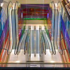 Psychedelic Escalator I (Alec Lux) Tags: rotterdam architecture blue colorful colors design escalator green interior lights market markthal netherlands psychedelic purple red stairs stairway symmetry urban yellow zuidholland nl