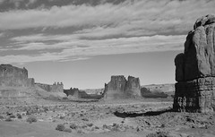Park Avenue (Dylan H, from the road) Tags: northamerica usa utah archesnationalpark np landscape west desert blackandwhite bnw blacknwhite