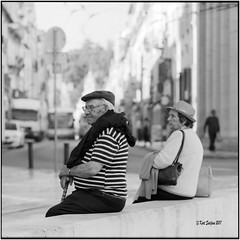 Two with hat_Hasselblad (ksadjina) Tags: 6x6 carlzeisssonnar150mmf14 coimbra fujiacros100 hasselblad500cm nikonsupercoolscan9000ed october2017 portugal rodinal analog blackwhite film scan street