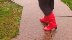 PA150045 (Axelweb) Tags: chubby bbw girl lady female rainwear raincoat pvc shiny wellies rubber boots gas mask plastenky holinky rainsuit rain suit plastic wellington gumboots galoshes gummi