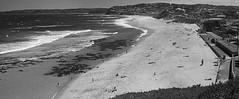 Low tide at Bar (OzzRod) Tags: pentax k1 smctakumar55mmf18 blackandwhite monochrome stitch panorama barbeach cookshill newcastle beach surf sea waves shoreline coast coastline