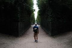 My Husband - Pausing - in Versailles (thedailyjaw) Tags: x100f x100series fujifilm fuji classicchrome paris france versailles bacchus statues garden gardens green trails maze garedunord parisian pose lines cloudy husband