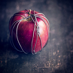 Temptation (borealnz) Tags: apple wire concept red wrapped dark temptation