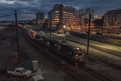 After Hours (marko138) Tags: 227 c408w cr6211 harrisburg ns8408 norfolksouthern pennsylvania bluehour city cityscape exconrail intermodal locomotive mainline night railfan railroad railroadphotography skyline slowshutter sunset train