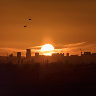Sun or Saturn? Sunset over Birmingham 24th November 2017