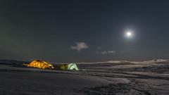 Langjökull night camp (Haraldur Ketill) Tags: langjökull langjokullglacier highlandsoficeland iceland ísland glacier icelandicglacier moonlight moon stars northernlights tent tents nightshot nightsky lightnight icesar hssk
