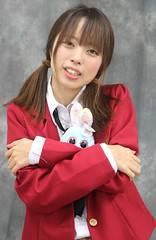 "I Told Him ""No Peeking."" (emotiroi auranaut) Tags: girl woman lady pretty model cute adorable bunny rabbit beauty beautiful attractive female feminine femininity red coat toy face hair asia asian japan japanese christmas xmas"