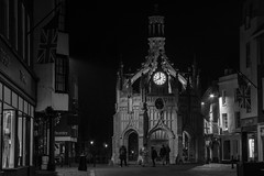 8pm at the Market Cross (Simon Taylor Local Photographic) Tags: chichester westsussex bw night street