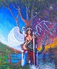DAY AND NIGHT. (tomas491) Tags: blinddeathangel fantasypainting rabbit night day graveyard halloween trees oilacrylic canvas homemade shield sword surreal colorfull