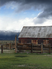 Out Of The Blue And Into The Black (nedlugr) Tags: california ca bridgeport usa monocounty barn clouds sky corrugated weathered weatheredwood fence fencepost corral mountains snow northerncalifornia easternsierras cattle