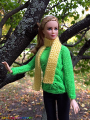 Handmade Barbie doll clothes. Hand-Knitted Bright Green Sweater + Light Yellow Scarf (uliakiev) Tags: barbie barbiedoll barbiedollclothes barbieclothes barbiesweater barbiecollector barbiecollection barbiefan barbiefashion barbieclothing barbiedolls barbieshop barbiestyle barbiestream barbiecrochet barbieknit dollclothes dollsweater dollknitting